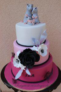 Hochzeitstorte Pink Schwarz Mit Rose Und Mausefamilie Brigittes